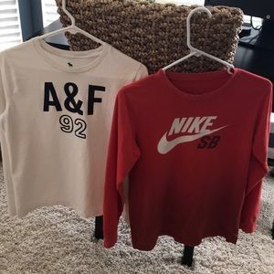 2 boys Long sleeve t-shirts Nike/Abercrombie